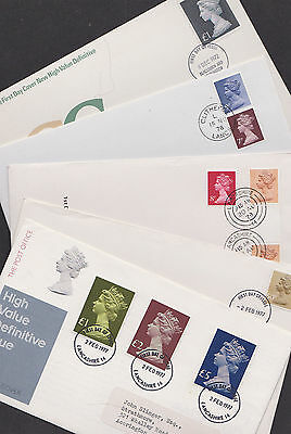 Great Britain GB 1972-79 FDC 5 Cover Definitives Machins Booklet £1-£5 Christmas