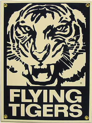 Flying Tigers Aero Plane Airplane Vintage Aviation Porcelain Metal Sign