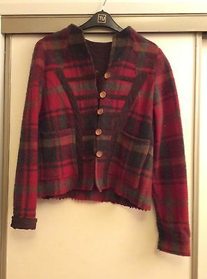 Ladies  Red Tartan Dress Jacket Size 36