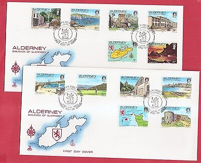 Alderney 1983 Views on TWO FIRST DAY COVERS  w8215