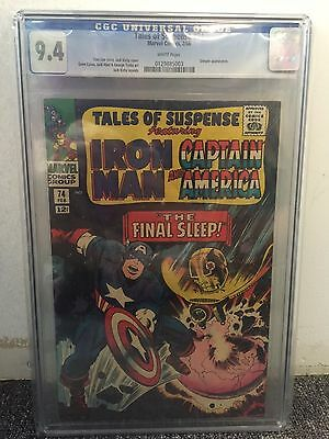 Tales Of Suspense #74 Cgc 9.4 White Pages Captain America Iron Man 1966