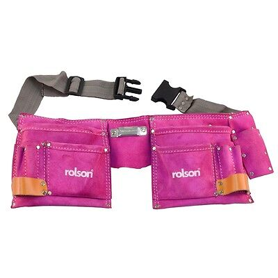 Pink Double Leather Tool Pouch - Rolson Reinforced Strength Holder Pockets