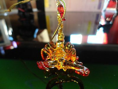 Hanging Scorpion Red Yellow Clear Figurine of Blown Glass Crystal
