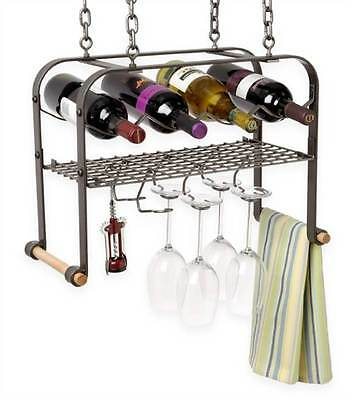 Hanging Wine Bottle and Bar Accessories Rack in Hammed Steel [ID 8352]