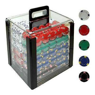 1000 Pro Clay Casino Poker Chips w Acrylic Carrier [ID 19026]