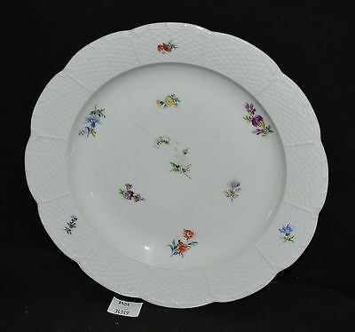 ThriftCHI ~ Meissen Scattered Flowers Plate w Basket Weave Edge & Florals