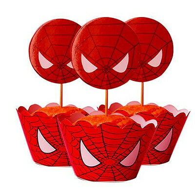 Spiderman Party Paper Cupcake Wrappers Toppers for Kid Birthday Decoration Hot