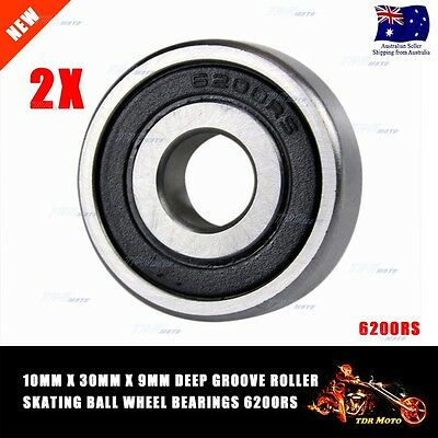 6200RS 10mm x 30mm x 9mm Double Rubber Sealed Deep Groove Ball Bearing 2 Pcs