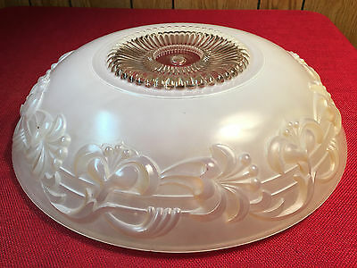 "ANTIQUE VINTAGE  30'S  ART DECO GLASS  CEILING LIGHT LAMP SHADE 15"" Dia. Heavy"