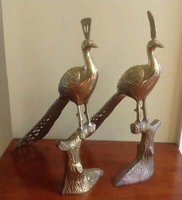 Pair Mid Century Brass Metal Peacocks Hollywood Regency Garden Figure Sculpture