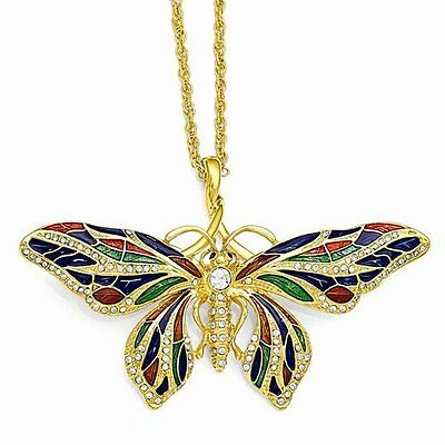 Jacqueline Kennedy Onassis Butterfly 2in1 Pin/Necklace 24k gold plate 21in chain