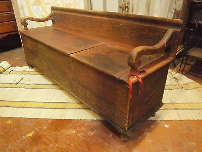 Early Primitive Wood Box Bench 2 Lidded Original Red Wash Paint