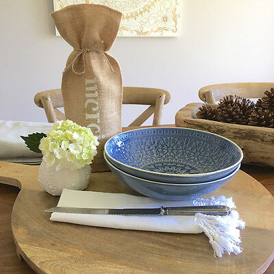 Large Blue Ceramic Salad Bowl/Embossed Pattern/Serving Bowl/Gift Idea
