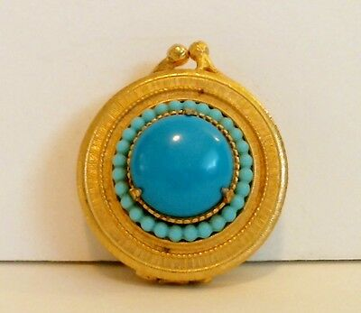 Florenza Solid Perfume Compact Turquoise Prong-Set Cabochon Tiny Beads Empty