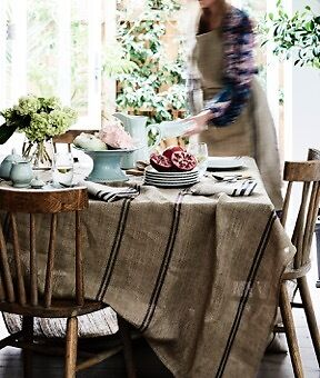 Large 100% Pure Linen Tablecloth/High Quality/175x275/Blue Stripe Table Cloth