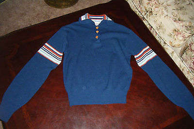 Vintage 1960s 70s COUNTRY CRAFT Kids Youth Girls SWEATER Acrylic Blue Stripe L