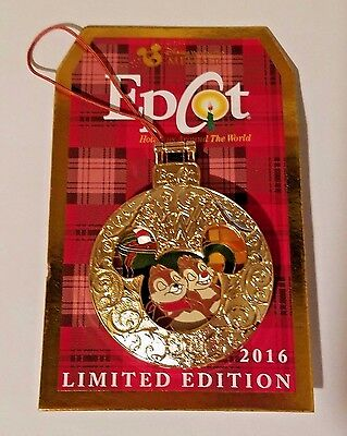 Disney DVC Pin 2016 Epcot Holiday Around the World CHIP and DALE  Ornament LE