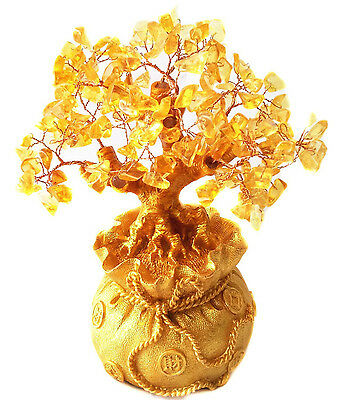 Feng Shui Citrine Lucky Tree Yellow Crytal in Chinese Dragon Pot Size S EE