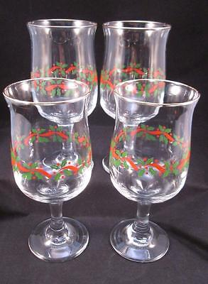 4 Arbys Libbey Holly Berry Ribbon Christmas Goblets Glasses Pedestal Wine Water