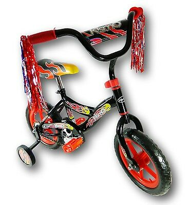 "Kids 12"" Kismo Girl's Boy's Training Wheels Bicycle Bike Black/Red For Age 3-5"