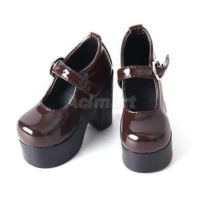Shiny Brown PU Leather Chunky Heel Shoes for 1/3 BJD Doll SD DOD LUTS Dollfies