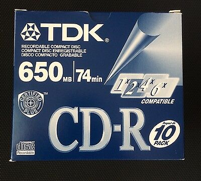 Lot of 10 Brand New individually sealed TDK CD-R discs 74 min 650 mb each