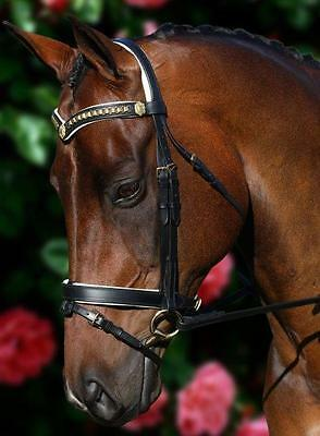 New Black Leather Horse Bridle Brass Chain V With Shields WP - ON SALE