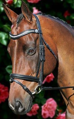 New Black Leather BLING Horse Bridle 3 row leather reins - Pony and Cob