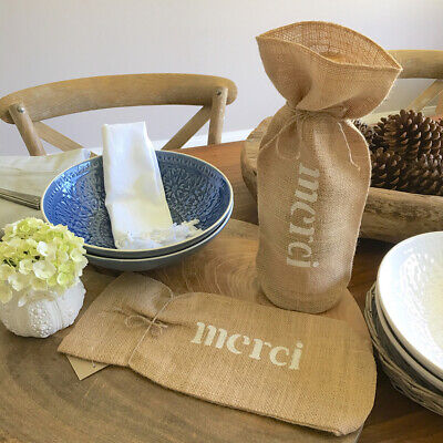 "2x""Merci"" Jute Wine Gift Bags/Champagne Gift Bag/Thank You Gift Wrap Wine Bottle"