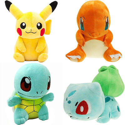 4pcs Pokemon Plush Toys Pikachu Bulbasaur Squirtle Charmander Action Toy