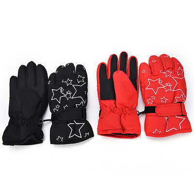 Children's Winter Warm Outdoor Ski Star Windproof Waterproof Finger Gloves DSUK