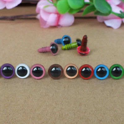 100pcs 8mm Color Random Plastic Safety Eyes For  Doll Animal Puppet