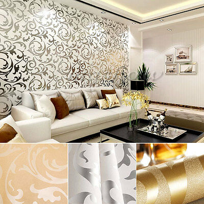 10M Wallpaper Roll Damask Victorian Textured Embossed Feature Bedroom TV Design