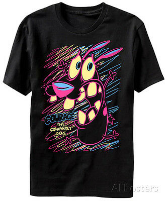 Courage the Cowardly Dog- Scared in Color Apparel T-Shirt - Black
