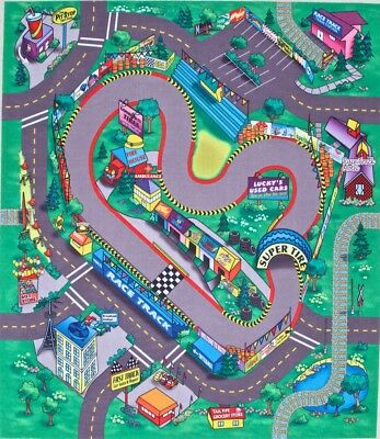 Racing Track Play Mat Game for Kids Felt Themed Mats 3 in Set Cars Trucks Trains