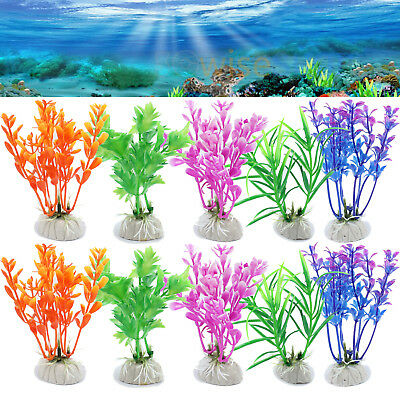 10X Mixed Artificial Water Green Grass Plant Plastic Decor Aquarium Fish Tank UK