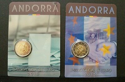 "2 Commemorative Euros Andorra 2015 ""Customs Agreement + Coming of Age"""