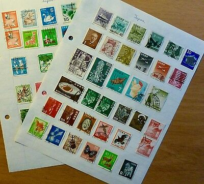2 Pages - Stamps  from JAPAN - 58 stamps - 1950's maybe earlier
