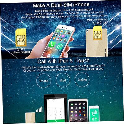 Portable Neecoo Bluetooth 4.0 Dual Sim Card Adapter For iPhone 6S Plus GH