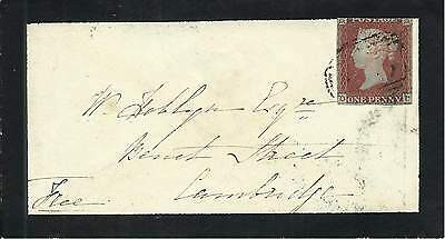 GB 1849 1d Red 1 Margin Mourning Cover from Bury St Edmunds to Cambridge