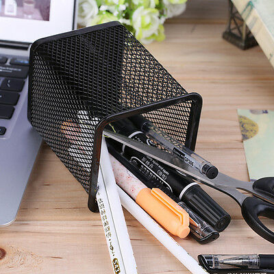 Office Desk Metal Mesh Square Pen Pot Cup Case Container Organiser Holder GH