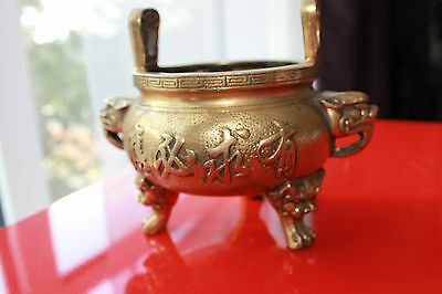 Vintage Chinese Brass Incense Burner With Dragon And Chinese Characters