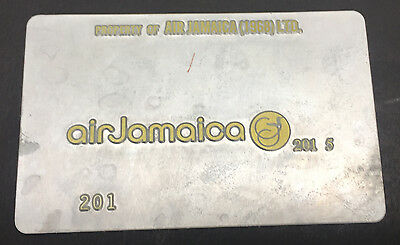 Rare Vintage Air Jamaica Airlines Metal Ticket Validation Plate Travel Agency
