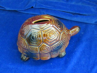 Vintage Woods Ware Pottery Tortoise Money Box With Stopper