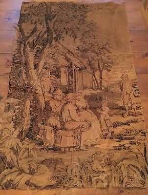 Large 75 X 48 Woven Tapestry Wall Hanging Chic Shabby Romantic Antique Garden