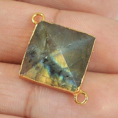 Natural Labradorite Faceted Point Connector Gold Plated B024226