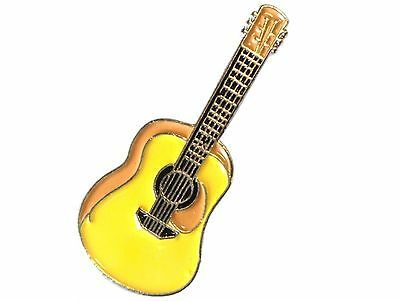 Yellow Acoustic Guitar Enamel Badge Country Folk Soft Rock Music Band Lapel Pin