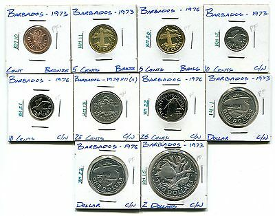Barbados : Lot of 10 different uncirculated and proof coins