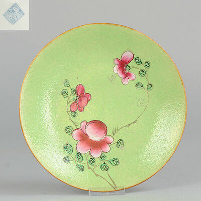 19C Chinese Porcelain Bright Famille Rose Lime Green Sgraffito Marked