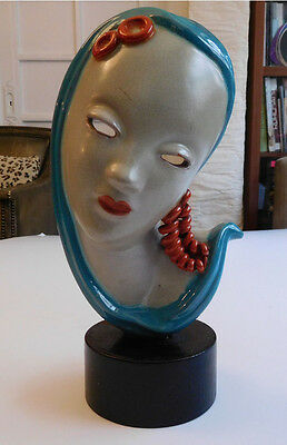 Vintage Ceramic Head Bust of a Woman with Turquoise Shawl (Czech)